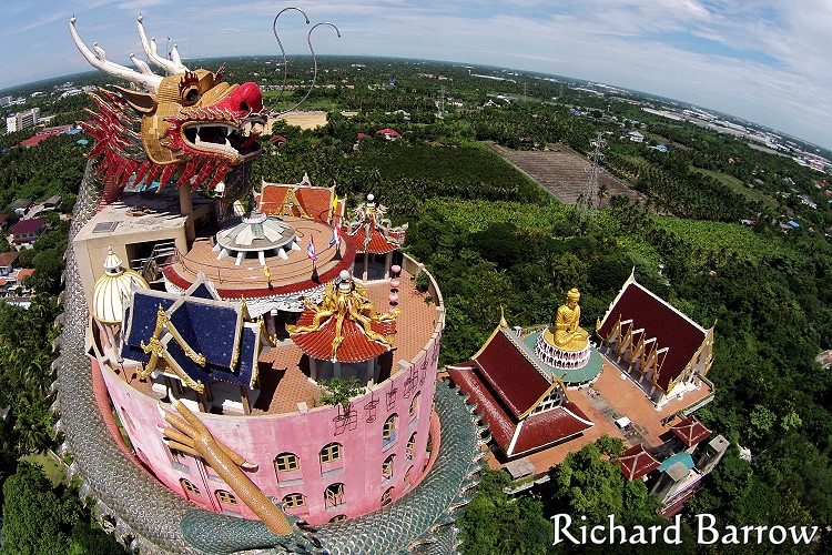 Giant Dragon Temple At Wat Samphran Thailand From Above